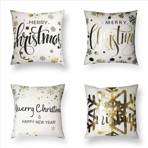 Golden Merry Christmas Quote Holiday Decor Throw Pillow Cover