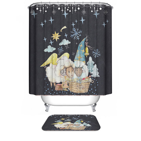 Golden Wings and Christmas Hat Ornaments Sheep Christmas Shower Curtain