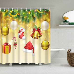 Golden Backdrop Hanging Christmas Ornament Shower Curtain