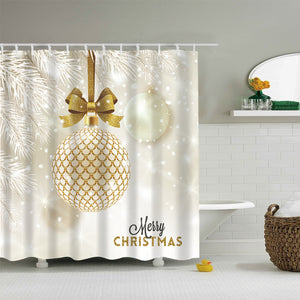 Golden Christmas Bubbles Shower Curtain