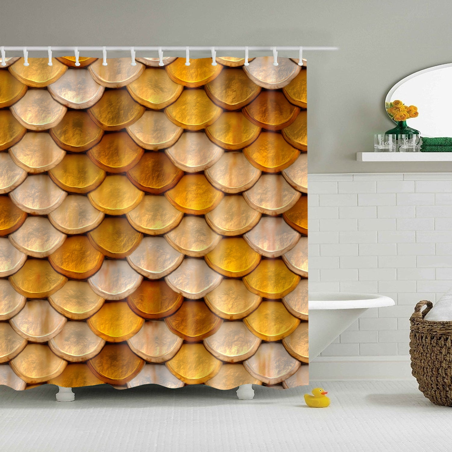 Golden Fish Scale Shower Curtain