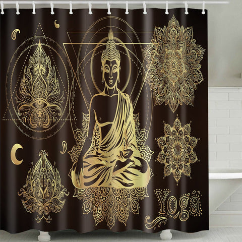 Golden Henna Floral Drawing Hindu Paisley Motifs Buddha Meditation Shower Curtain
