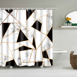 Golden Line Triangles Marble Tiles Shower Curtain