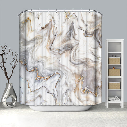 Golden and Black Swirl Fluid Art Print Gold Marble Shower Curtain