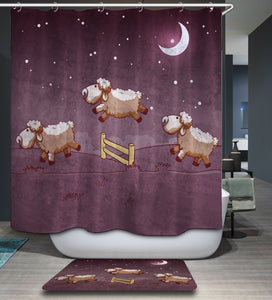 Good Night Jumping Through The Fence Sheep Shower Curtain