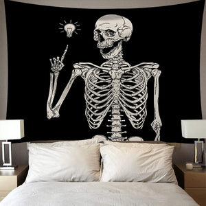 Got an Idea Black White Skeleton Tapestry