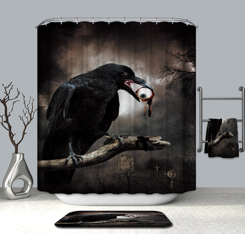 Gothic Realm Dark Black Crow with Horror Eyeball Raven Shower Curtain