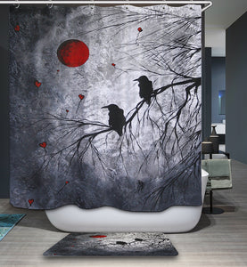 Gothic Blood Moon Raven Crow Shower Curtain