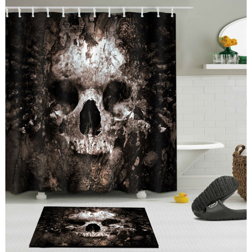 Gothic Horror Skull Ghostbuster Scary Shower Curtain