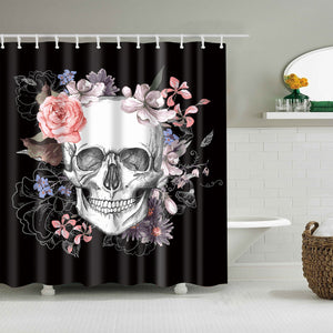 Gothic Skeleton Sugar Skull with Floral Shower Curtain