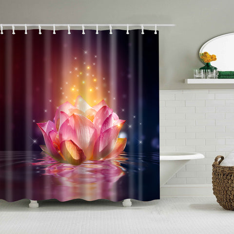 Graceful Buddha Pink Water Lily Sacred Lotus Shower Curtain