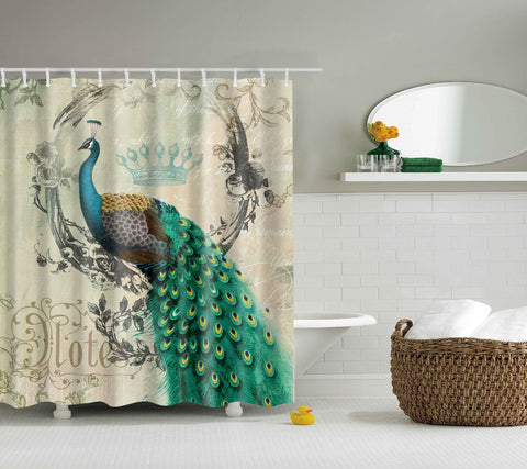 Grandeur Peacock with Crown Shower Curtain