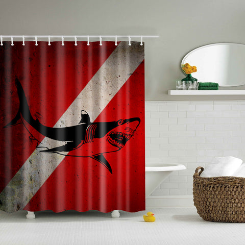 Great White Shark Safety Notice Shower Curtain