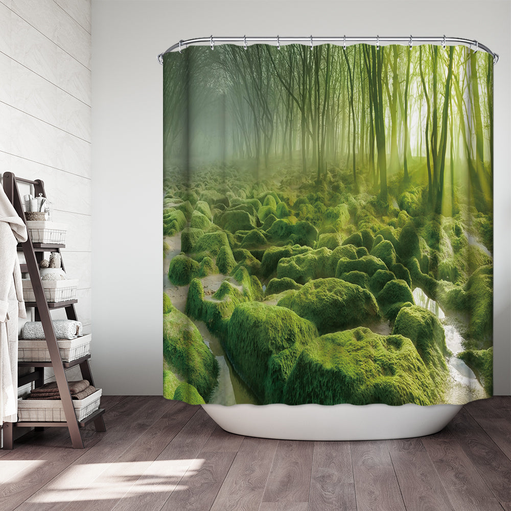 Green Fern Forest Trees with Rock Steine Moss Garden Moss Shower Curtain