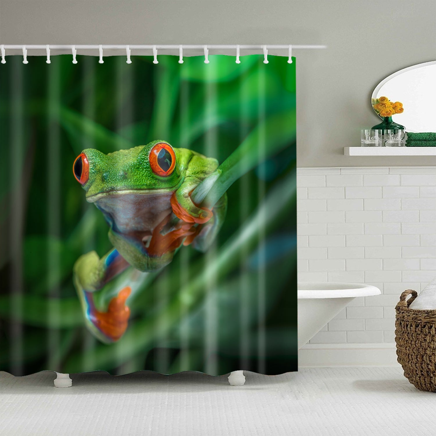 Green Rainforest Red-Eyed Tree Frog Shower Curtain