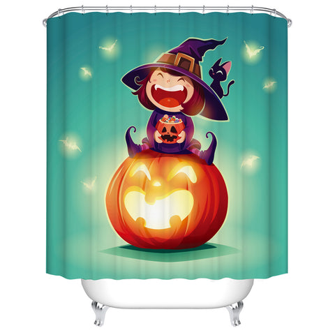Green Sparky Bat Backdrop Cartoon Happy Witch and Black Cat with Full Pumpkin Candy Kids Halloween Shower Curtain