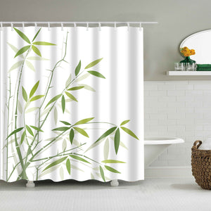 Green White Oriental Bamboo Branches Shower Curtain