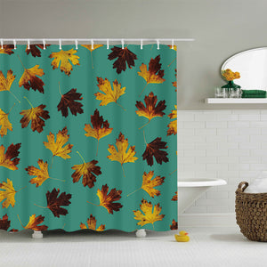 Green Backdrop Autumn Seamless Maple Leaves Shower Curtain