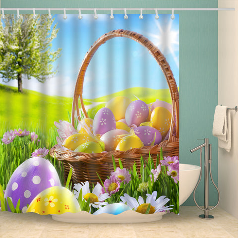 Green Field with A Basket of Eggs Easter Shower Curtain