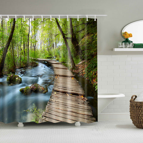 Green Forest Wooden Path Across River Shower Curtain