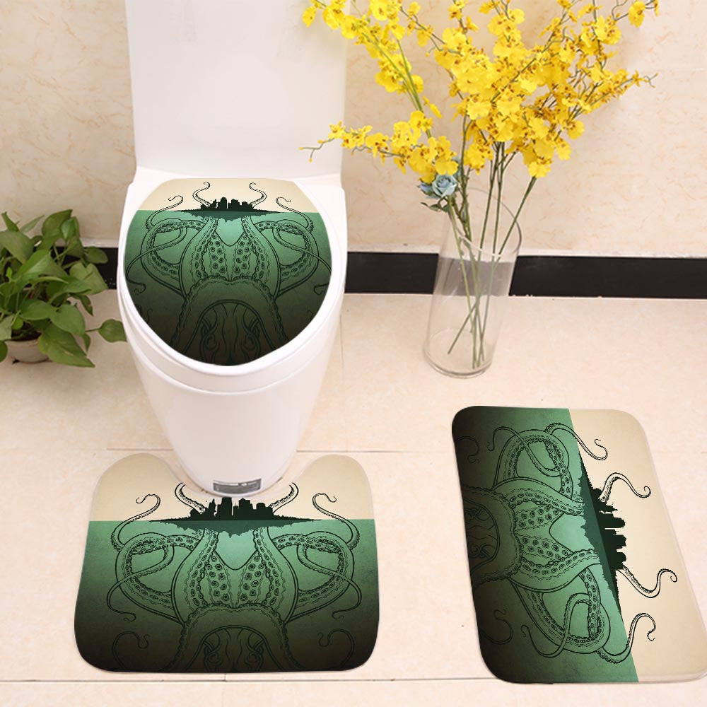Green Kraken Octopus with Island Art Toilet Seat Cover
