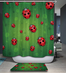 Green Leaf Vein Ladybug Shower Curtain