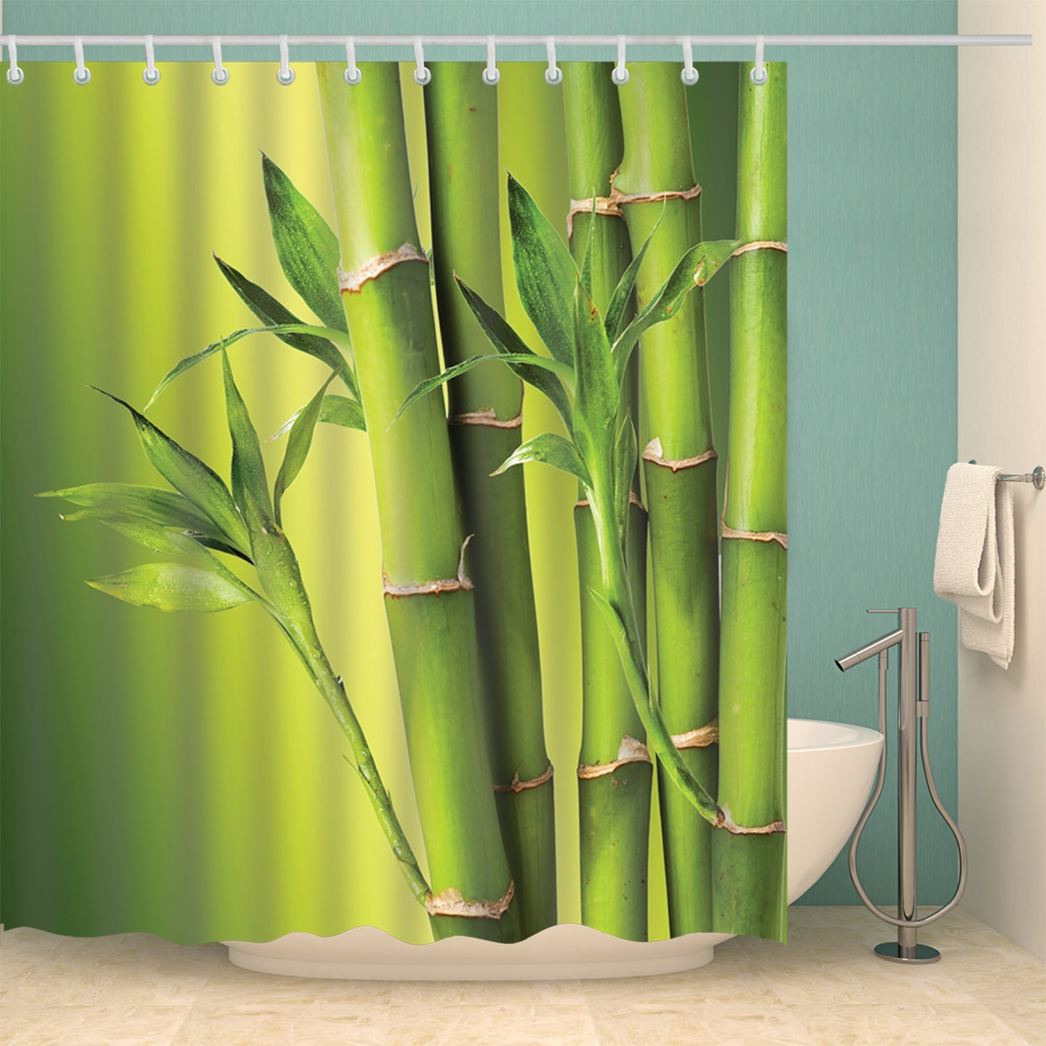 Green Nature Bamboo Theme Fabric Shower Curtain