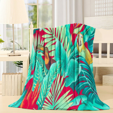 Green Red Plants with Parrot Throw Blanket
