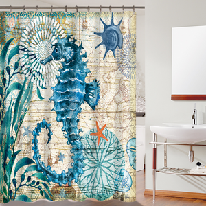 Green Seahorse Watercolor Print Shower Curtain Beach Bath Decoration | GoJeek