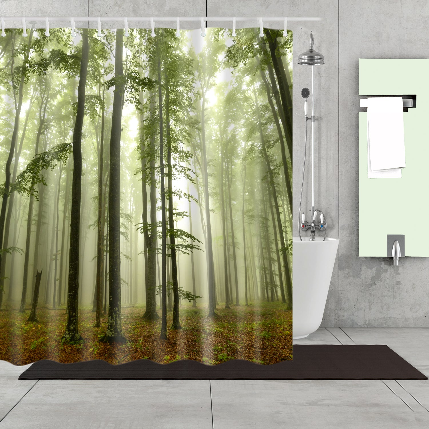 Green Smoky Spruce-fir Forest Shower Curtain