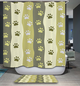 Green Stripe Cute Paw Print Shower Curtain