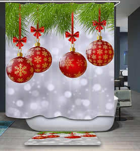 Green Tree with Merry Christmas Ornament Shower Curtain