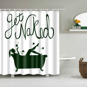 Green Watercolor Painting Get Naked Shower Curtain