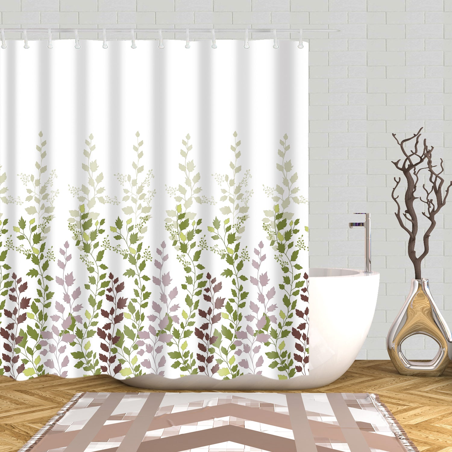 Green and Purple Growing Grass Shower Curtain