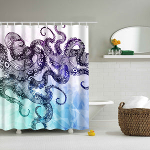 Green and Purple Watercolor Octopus Tentacle Shower Curtain