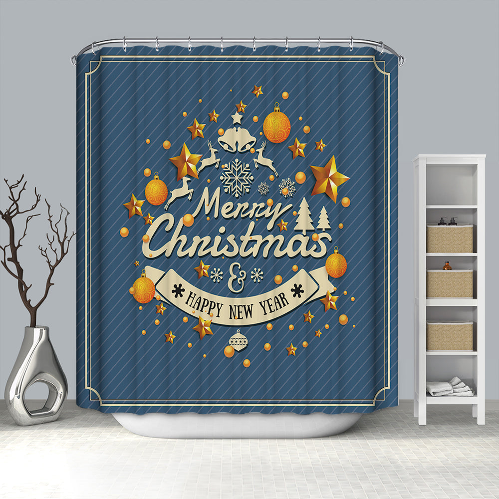 Greeting Design Merry Christmas Happy New Year Shower Curtain