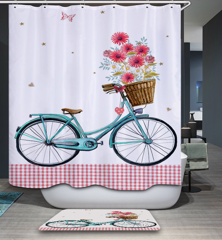 Greeting Spring Blue Bike with Flowers Shower Curtain