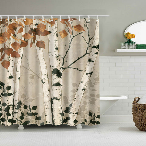Grey Backdrop Autumn Maple Leaves Birch Tree Shower Curtain