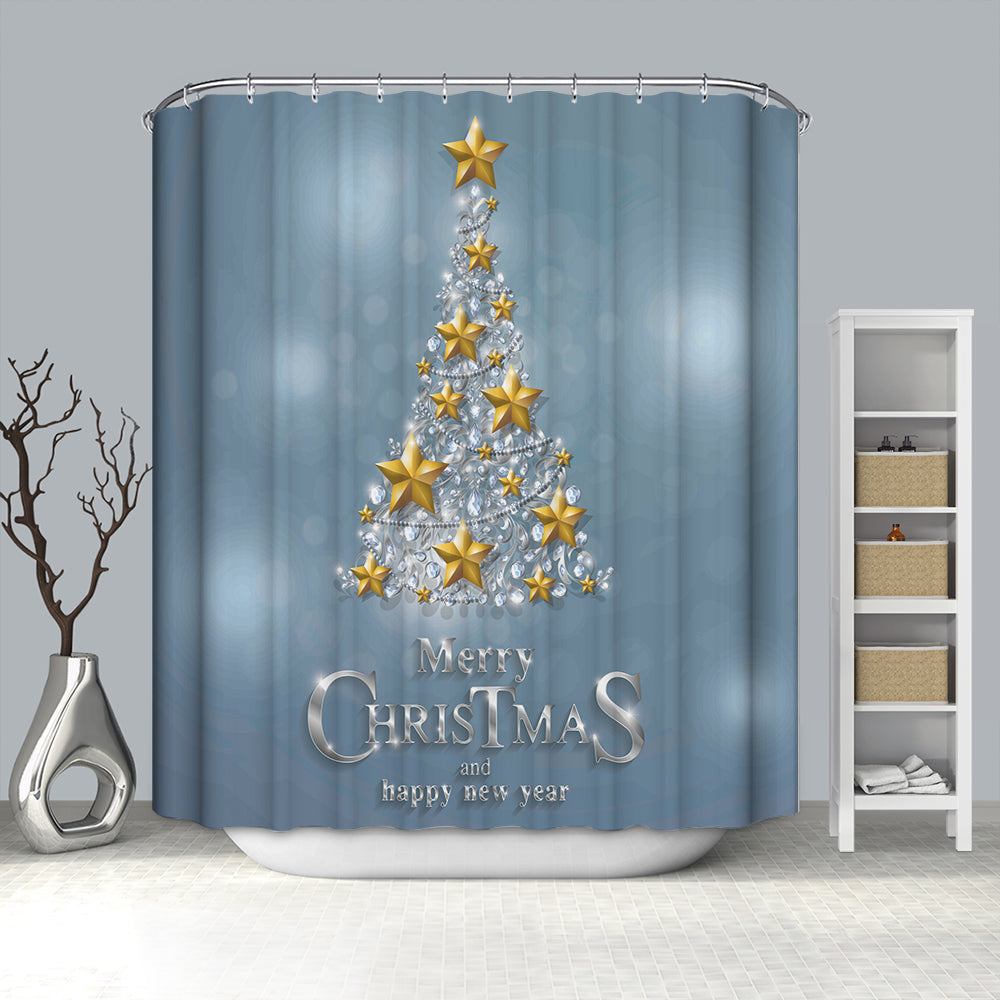 Grey Backdrop Golden Star Christmas Tree Shower Curtain