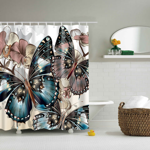 Grey Monarch Butterfly Drawing Shower Curtain