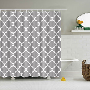 Grey Moroccan Seamless Geometric Shower Curtain