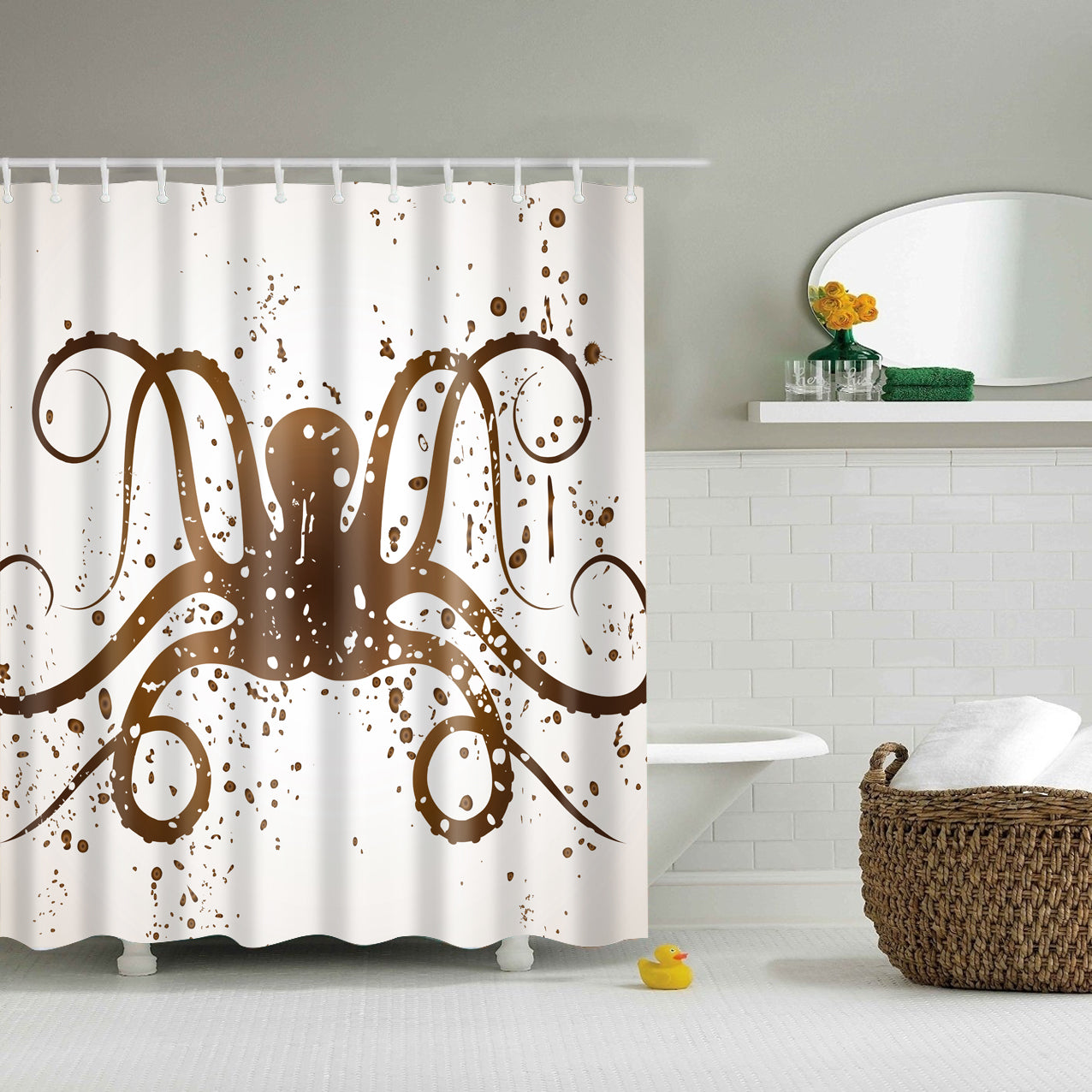 Grey Octopus Painting Shower Curtain