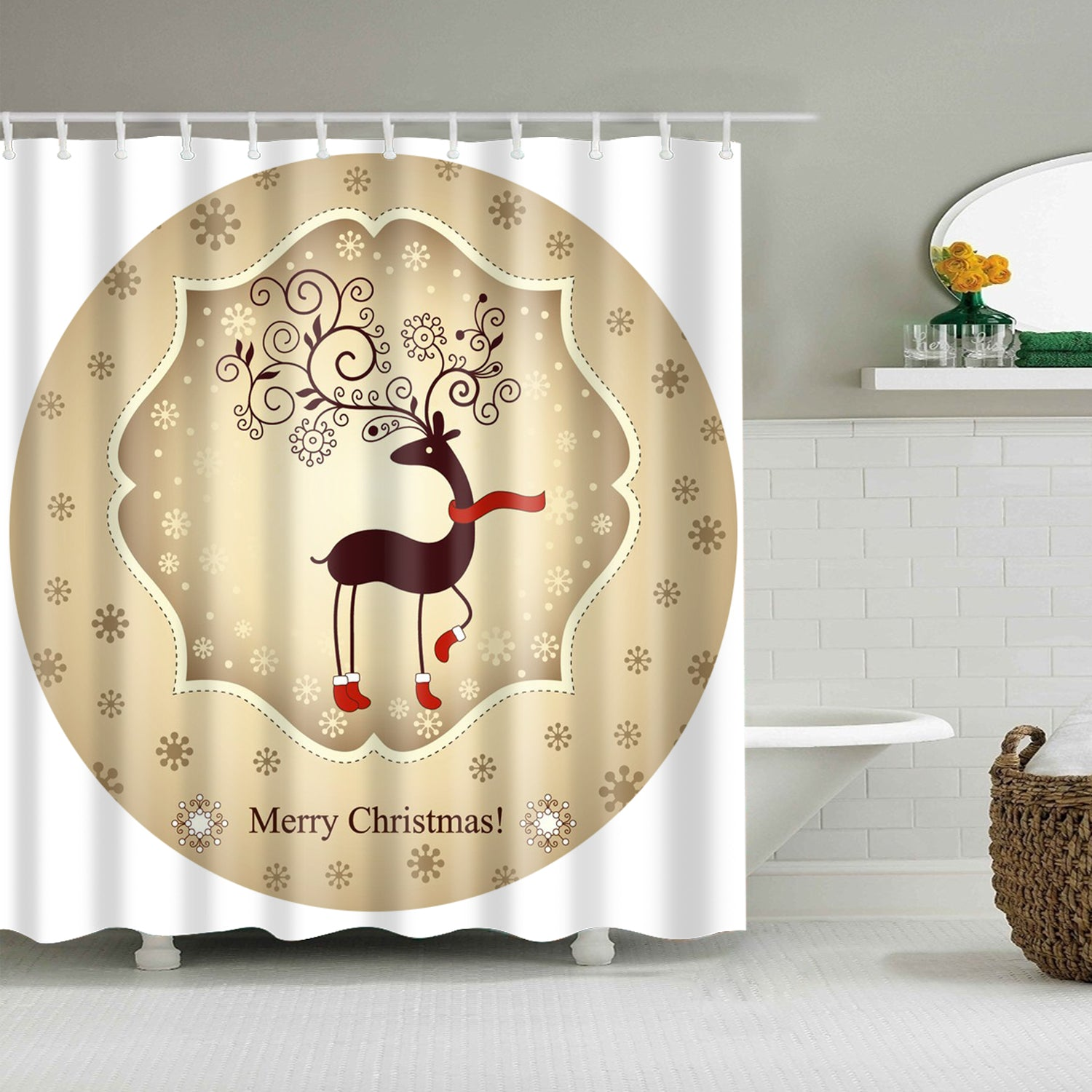 Grey Reindeer Wearing Scarf Circle Pattern Shower Curtain