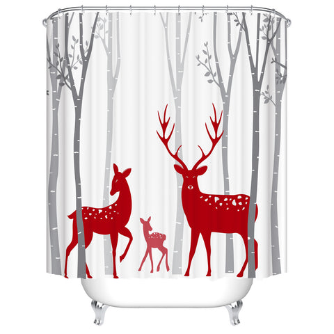Grey and Red Winter Forest Sweet Holiday Christmas Deer Shower Curtain