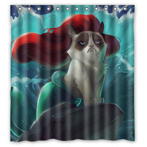Grumpy Cat Mermaid Shower Curtain GOJeek