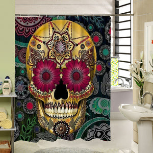 Mexican Flower Aztecs Skull Design Shower Curtain