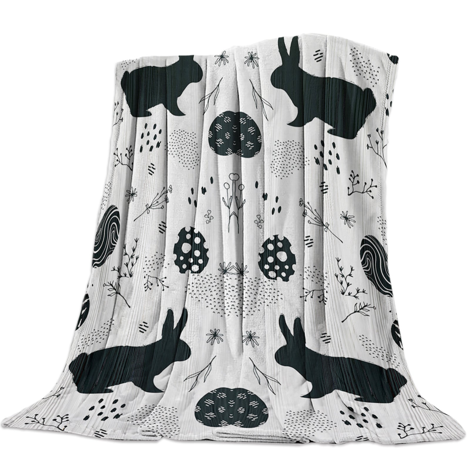 Cute Black and White Bunny and Easter Eggs Throw Blankets