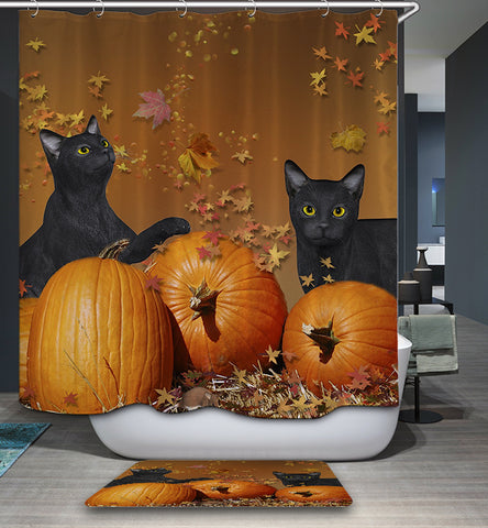 Halloween Black Cat with Pumpkin Shower Curtain