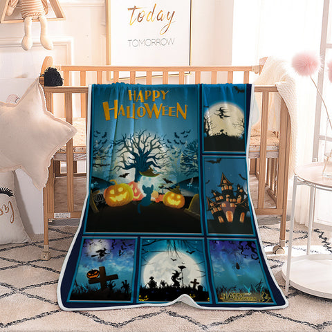 Halloween Blue Night Pumpkin with Tree Quilted Throw Blankets
