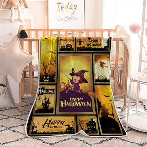 Halloween Cute Witch with Broom Quilted Throw Blankets